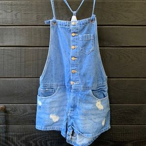 Zara Denim Overall Shorts- Never Worn!